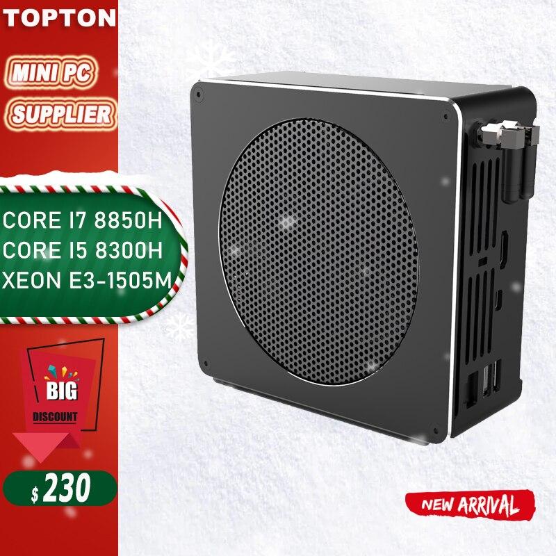 Topton ゲームコンピュータインテル i7 8750H8850H/ i5 8300H/E3 1505 メートル 6 コア 12 スレッド 12 m キャッシュ nvme m.2 nuc ミニ pc Win10 プロ ac 無線 lanミニ PC   -