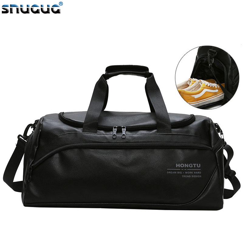 New Soft PU Leather Sports Bags Man 2020 Women Men Gym Bags For Fitness Tas Sac De Sport Gymtas Training Luggage Duffel Bag