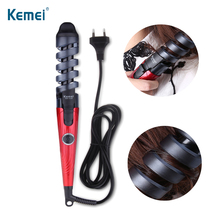 KEMEI Electric Hair Curler Professional Spiral Curling Iron Curling Wand Hair Styling Tools Ceramic Hair Crimper For Baby Liss цены