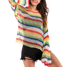 New Thin Rainbow Stripe Knit Openwork Blouse Women Knitted Sweaters Loose Shirts Tops Long Sleeve Hollow Out Blouses