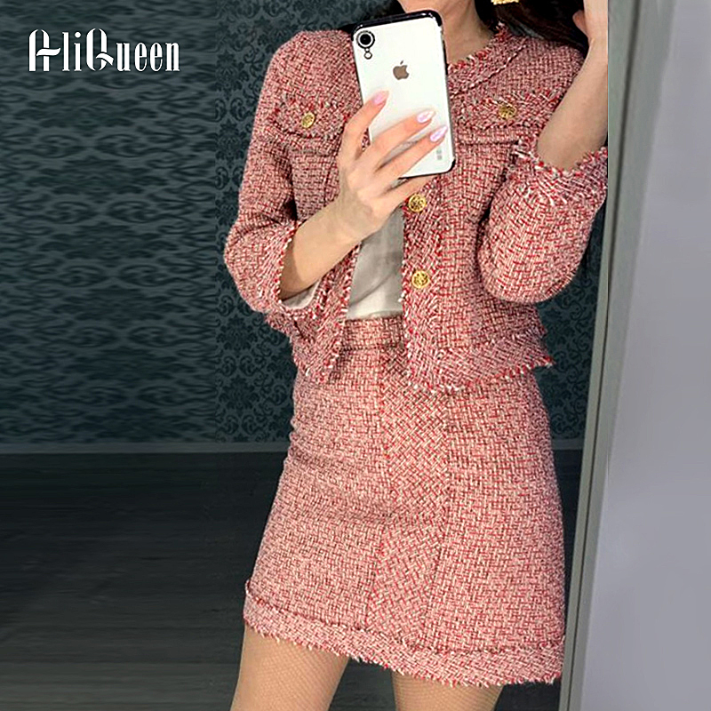 Tweed Set Suit 2019 Autumn Winter Runway Women's Single Breasted Short Jacket Coat + High Waist Tassels Bodycon Mini Skirt Set