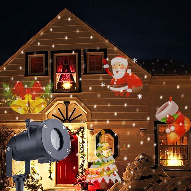 12 Pattern Christmas Stage Lighting Effect Laser Projector Lamp Waterproof Garden Lawn Snowflake Star Birthday Stage Light Decor