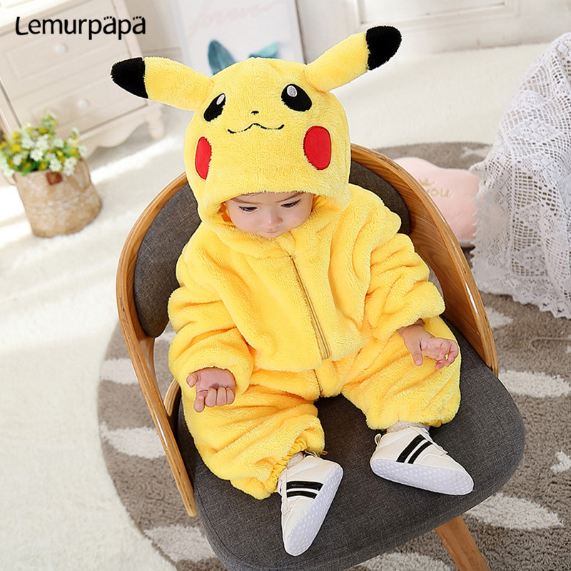 Pijama Pokemon Pika Onesie Baby Girl Boy Romper Cartoon Newborn Jumpsuit Funny Cute Pajama Zipper Kid Party Costume