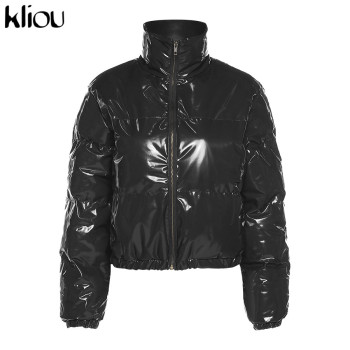 Kliou Crop Bubble Puffer Coat Winter Parkas Faux PU Leather Warm Long Sleeve Women Outerwear Zipper Casual Solid Slim Hot Jacket 9