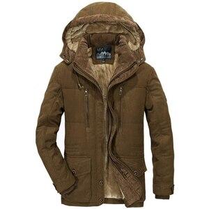 Image 5 - Chaqueta gruesa de lana para hombre, abrigo de invierno, abrigo informal a prueba de viento con capucha, Parkas militares de talla grande 6XL 7XL