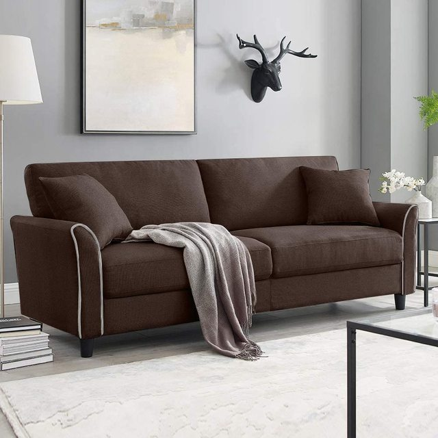 Tribesigns Mid-Century Upholstered 85 Inch Sofa Couch, Modern Linen Fabric Couch for Small Space 3