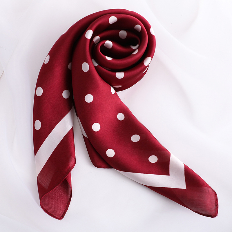 Fashion Silk Satin Neck Scarf For Women Dot Print Kerchief Small Shawls Bag Scarfs Female 70*70cm Square Head Scarves For Ladies