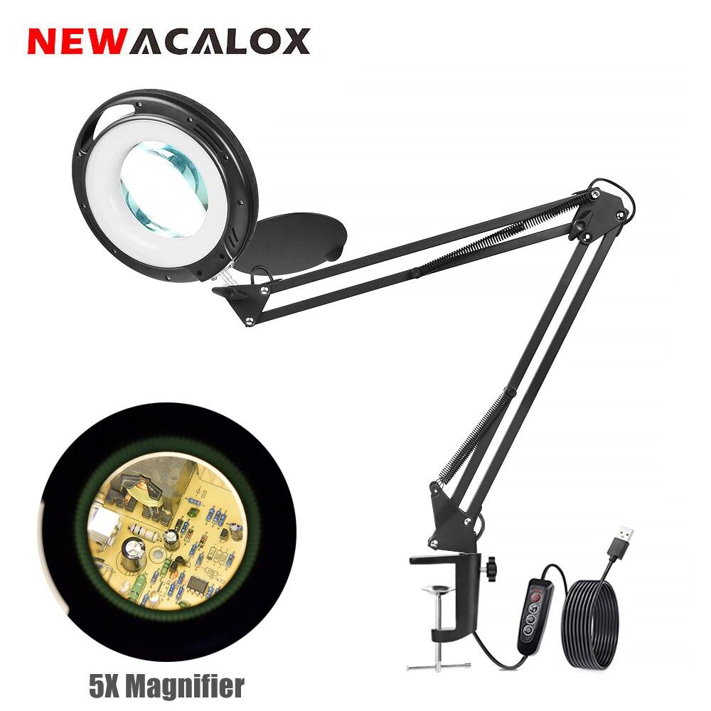 Купить newacalox 5x увеличительное стекло с 3 цветами светодиодный