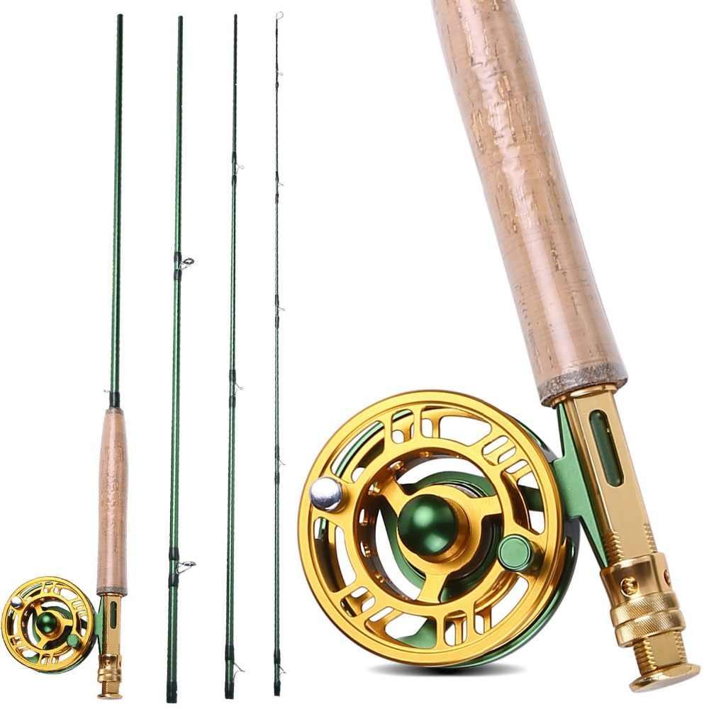 Sougayilang 2.7 メートルフライフィッシングロッドコンボ 5F 釣り糸軽量ポータブルロッドとアルミ合金フライリールキットセット