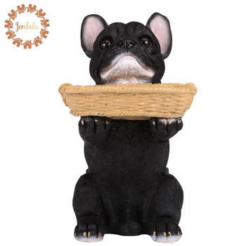 Size L Resin Dog French Bulldog Tray Key Change Holder Ocarina Home Decoration Crafts Artificial Dog Best Gift, Free Shipping