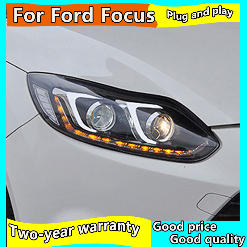 Car Styling for Ford Focus Headlights 2012-2014 Focus <font><b>3</b></font> <font><b>LED</b></font> Headlight <font><b>DRL</b></font> Bi Xenon Lens High Low Beam Parking <font><b>Fog</b></font> Lamp image
