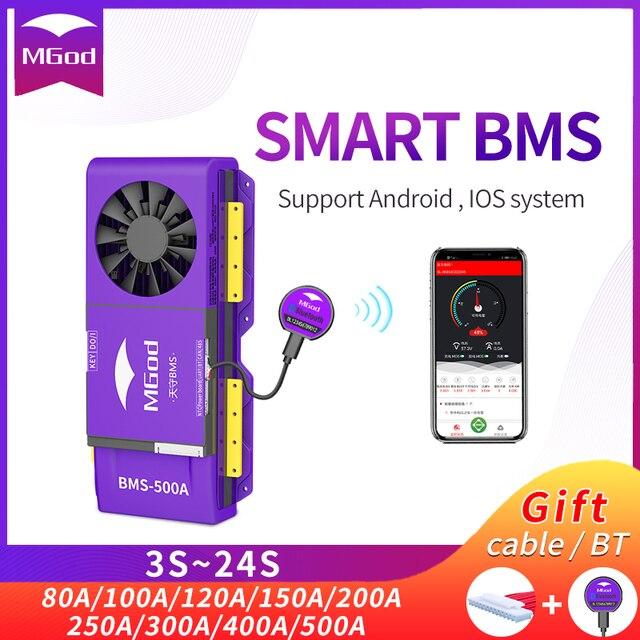 LiFePo4 4S inteligente BMS 3S 24S, batería de litio para exteriores, emergencia, hogar, con ventilador, Bluetooth, balance PCBA, 8S, 16S