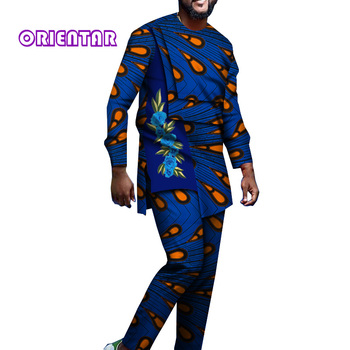 2 Pieces Set for Men African Clothes African Suits Set African Print Dashiki Shirt with Appliques Men African Pants Set WYN1214