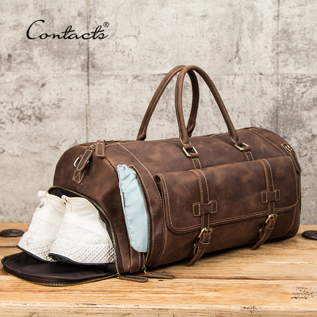 CONTACT'S Travel Men Handbags Crazy Horse Leather Duffle Luggage Bag Large Capacity Vintage Suitcase Tote Bag Male Shouder Bags 5