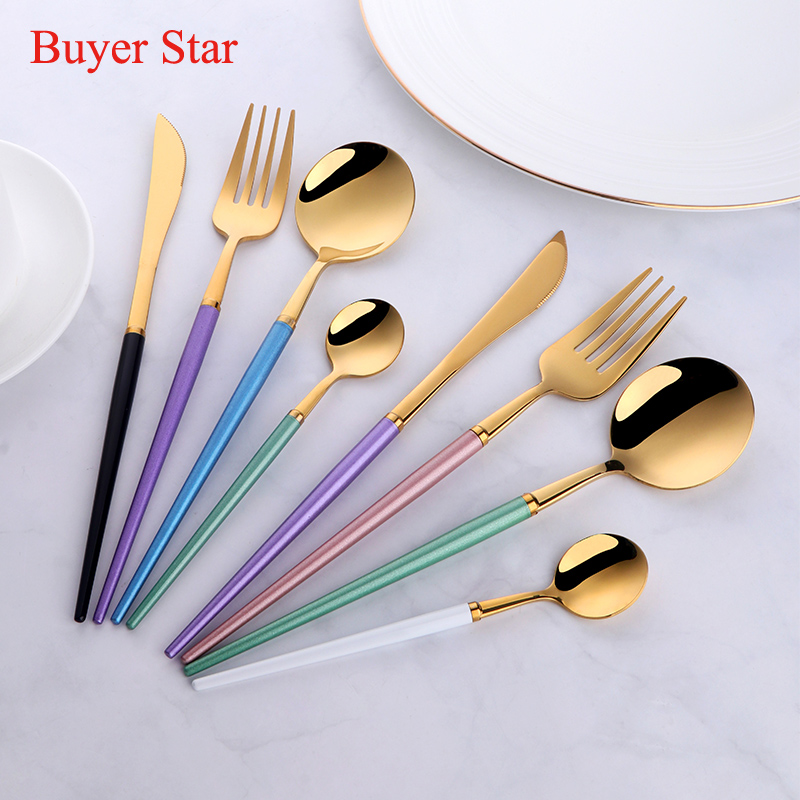 24pcs western stylish Flatware Stainless Steel Cutlery set Plastic Handle Restaurant Dinnerware steak Knife food Fork spoon set