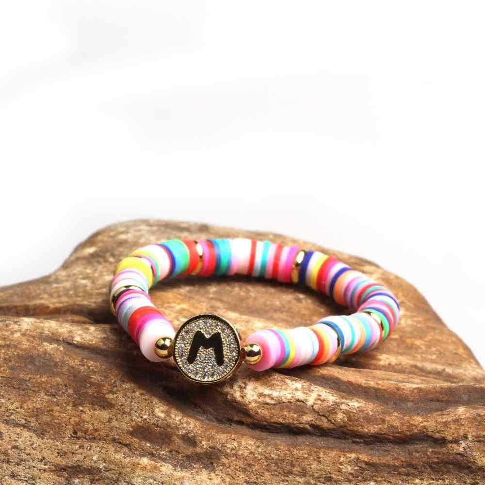 Nouveau Bracelet Boho fait main Femme couleur bonbon polymère argile élastique Bracelet à breloques pour femmes bijoux Bracelet pulseras mujer fille