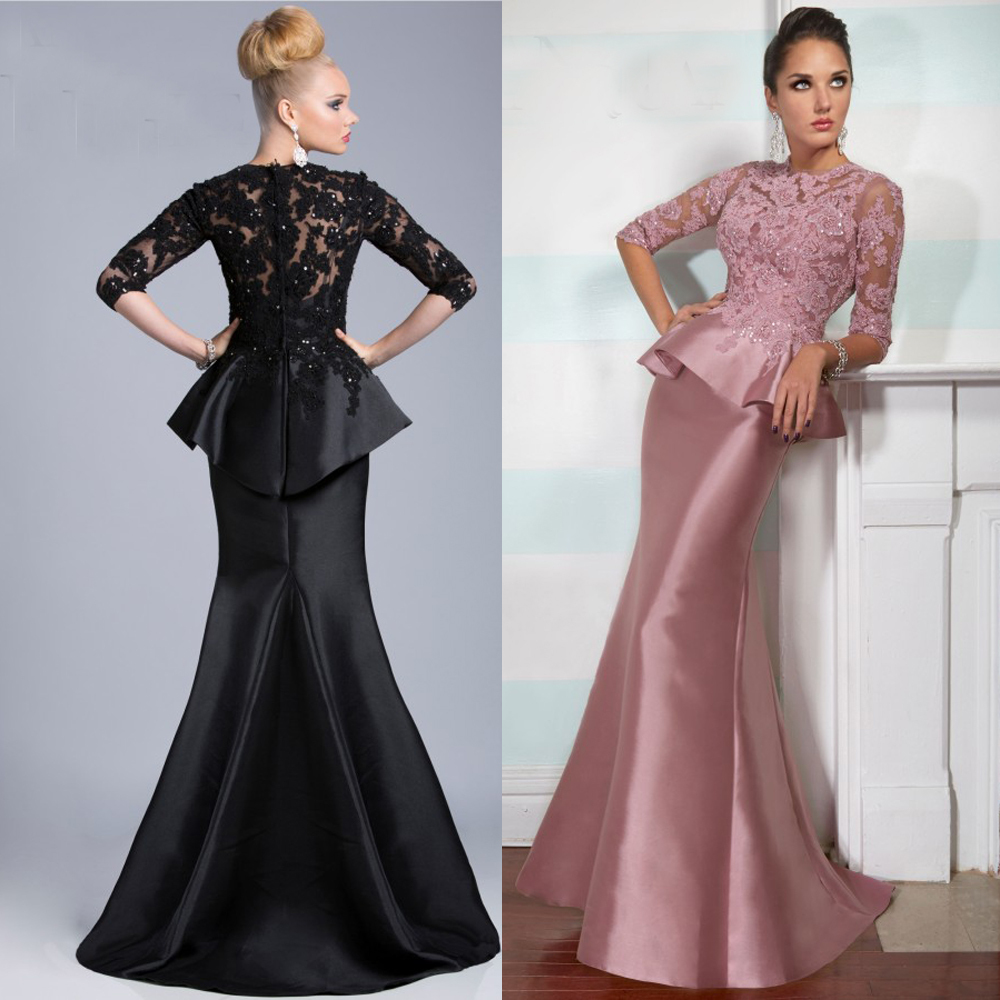 Vestido Mae Da Noiva 2015 Elegant High Neck 3/4 Sleeves Black Pink Mermaid Mother Of The Bride Lace Dresses Formal Gowns
