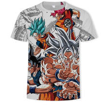 Nuovo 2019 Dragon Ball Z T Camicette Uomini di Modo di Estate 3D Stampa Super Saiyan Son Goku Bianco Zamasu Vegeta Drago T-shirt A(China)