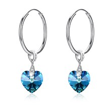 Blue Love Crystal Hoop Earrings Colorful Fashion Pendant 925 sterling silver circle jewelry gift