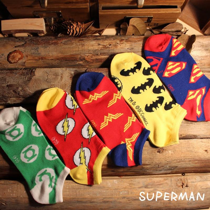 Fashion Unisex Avengers Socks Superman Flash Batman Wonder Woman Green Light Man Cotton Socks Fun Happy Ankle Socks