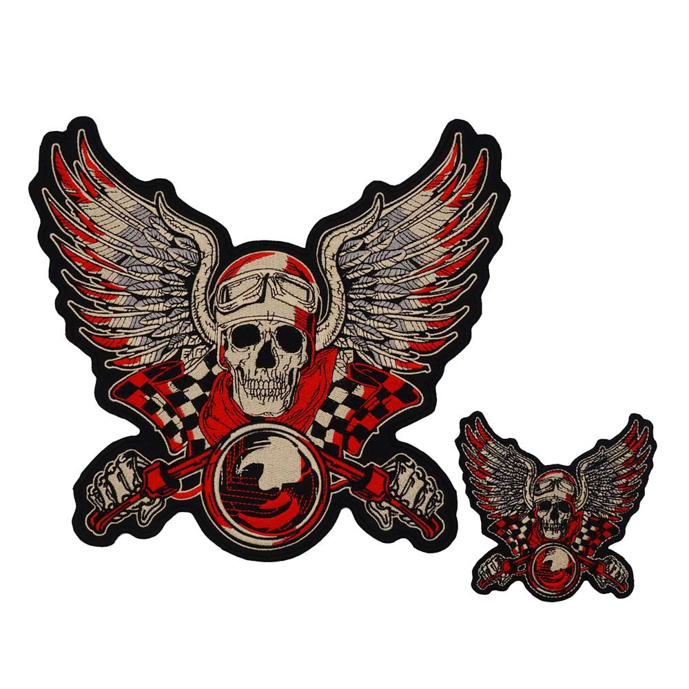 SKULL MOTORCYCLE large Embroidered punk biker Patches Clothes Stickers Apparel Accessories Badge