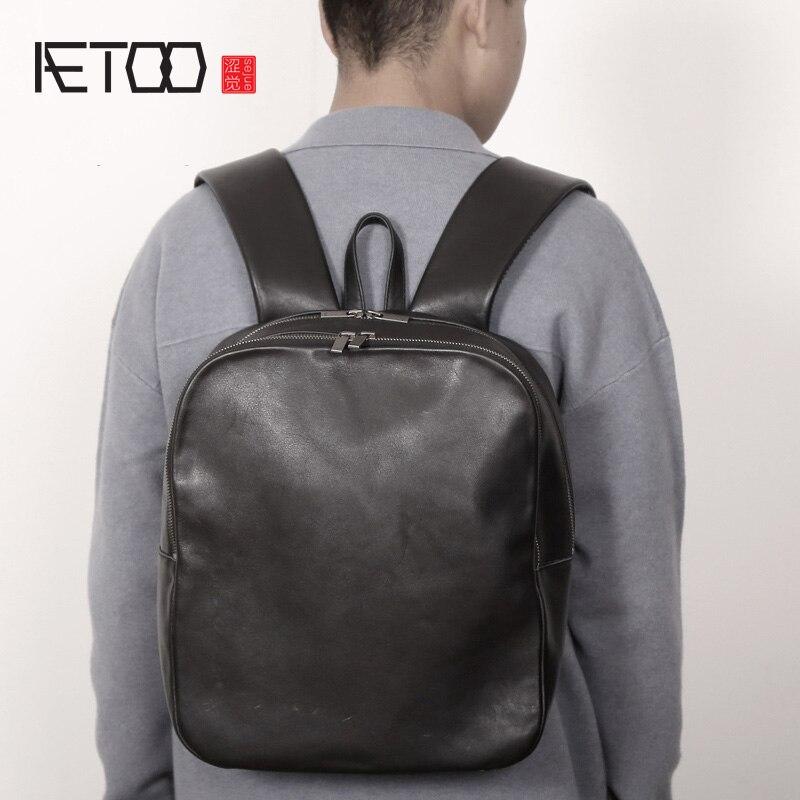 AETOO Leather shoulder bag, head leather casual backpack, soft leather minimalist travel bag