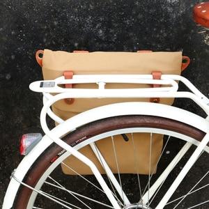 Image 2 - Tourbon Retro Tela Cerata Della Bicicletta Del Sacchetto Della Bici del Sedile Posteriore Sacchetto di Elemento Portante Del Marrone Ciclismo Pannier Borse Pacchetto Urbano Tote Acqua Repellente Per Zanzare