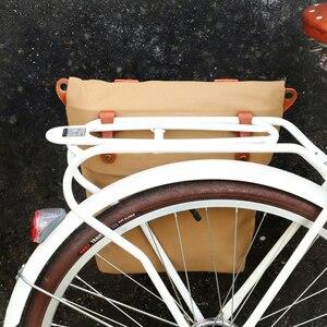 Image 2 - Tourbonレトロワックスキャンバス自転車ポーチバイクリアバッグブラウンサイクリングパニエバッグパック都市トート撥水