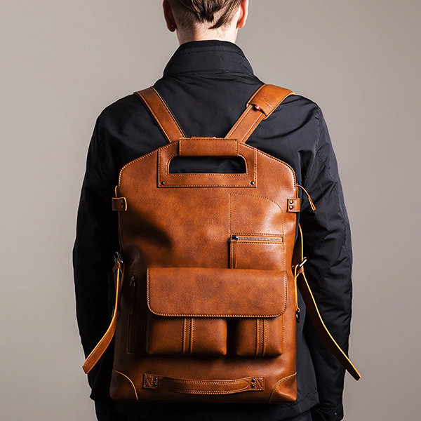 Leisure Sports Men//Women Backpack Waterproof Zipper Genuine Leather Retro Travel Shopping Large Capacity Portable Backpack Color : Brown