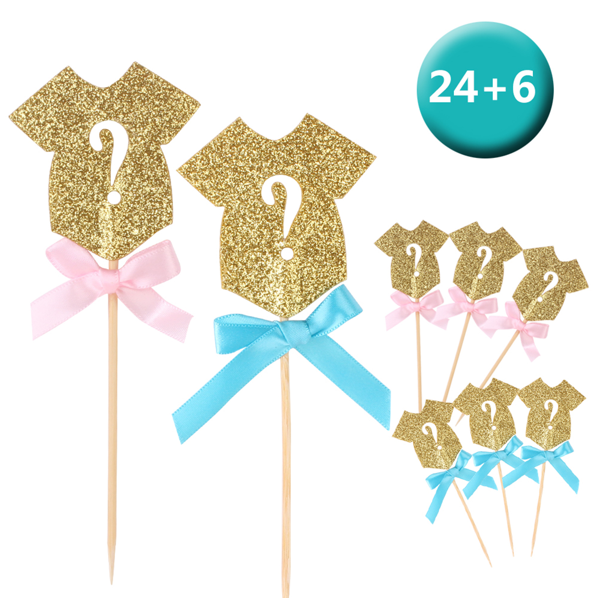 30pcs Glitter Cupcake Toppers  Cake Toppers Paper Kids Birthday Party Dessert Table Decorating Supply Universe Baby Shower Boy