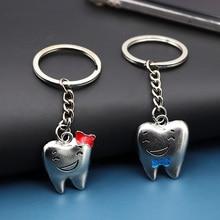 2pcs Tooth Model Shape Cartoon Teeth Keychain Key Chains Stainless Steel Dental Clinic Gift Dentist Decoration