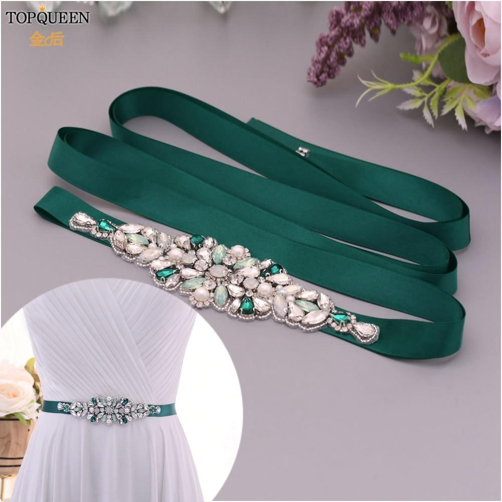 TOPQUEEN Green Decorative Rhinestone Bridal Belt Beaded Belts For Formal Dresses Custom Bridal Belt Bridal Belt For Wedding S443