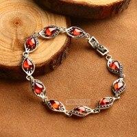 New 100% s925 Silver Red Corundum Bracelet for Woman Vintage Thai Silver Blue Corundum Garnet Bracelet Women's Silver Bracelet
