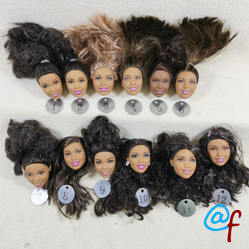 B29-3 Original Foreign Trade Africa Nikki Beauty 1/6 OOAK NUDE Rarely Doll Head Mussed Black Or Brown Hair For DIY Soft PVC Head