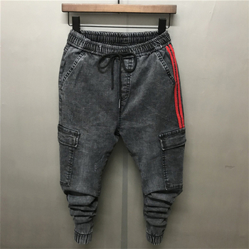 2018 New Personality Stick Pockets Men's Jeans Ankle-Length Pencil Pants Young Boy Slim Fit Elastic Waist Black Gray Trousers