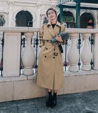 Женский однотонный тренчкот двубортное пальто верхняя одежда