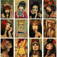 Vintage Poster estilo 5D DIY diamante pintura Sexy chica bordado de diamante de mujer mosaico decoración del hogar arte para la habitación