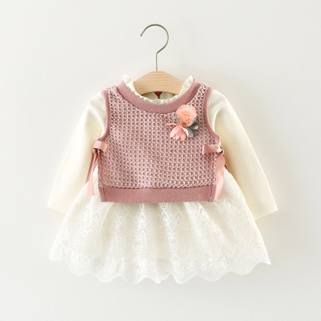 Cute Floral Princess Suit Ball of Yarn Kids Party dress