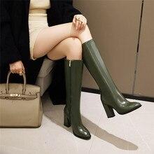 Boots Shoes Yellow White Plus-Size Winter High-Heel Black Womens Fashion Long Pu YMECHIC