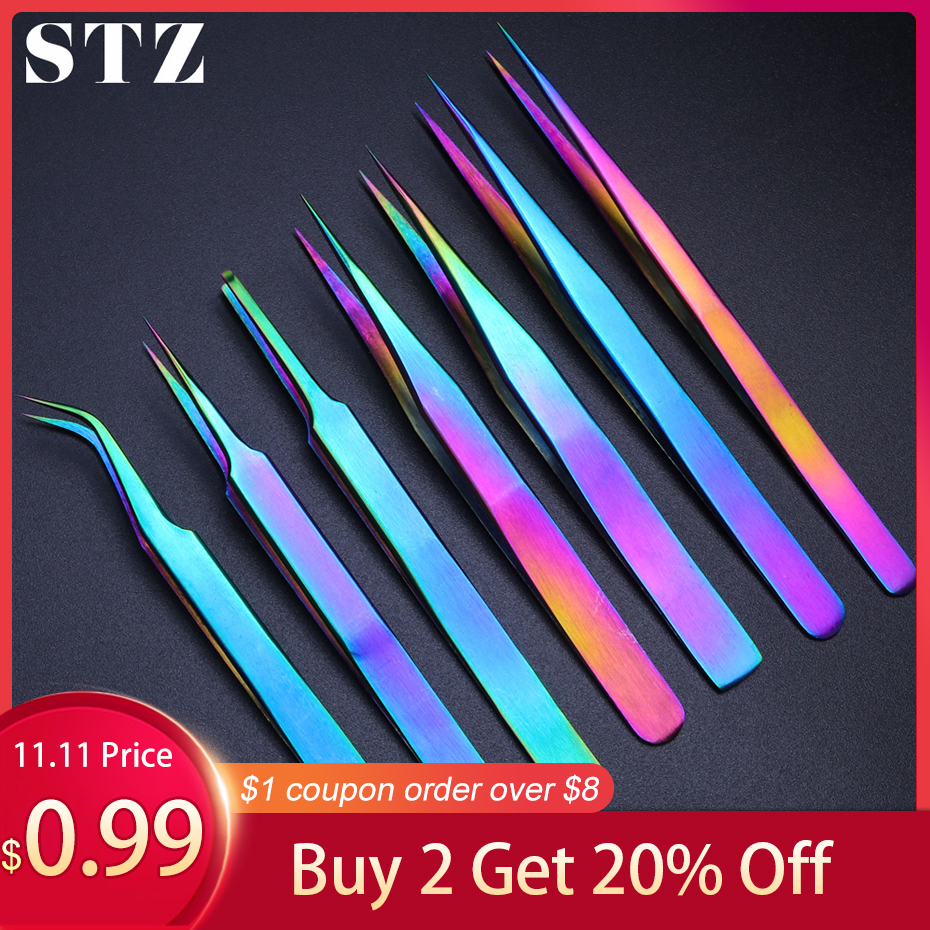 STZ Tweezers Stainless Steel Eyelashes Extensions Eyebrow Straight+Curved Hair Removal Cosmetics Makeup Nail Art Tools NB01-07