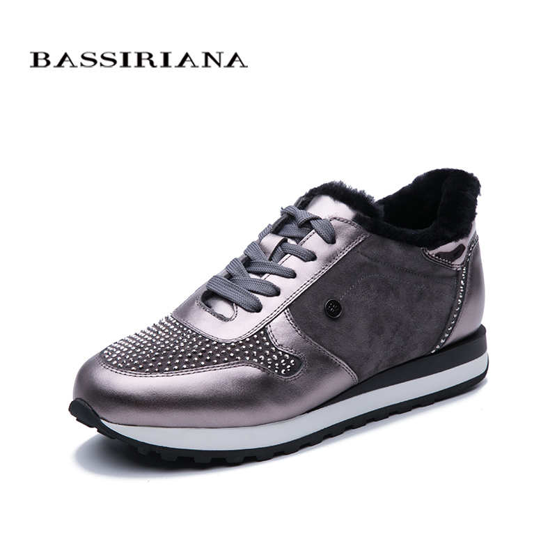 BASSIRIANA 2019 women's shoes new sports shoes genuine wool warm leather Diamond flat shoes