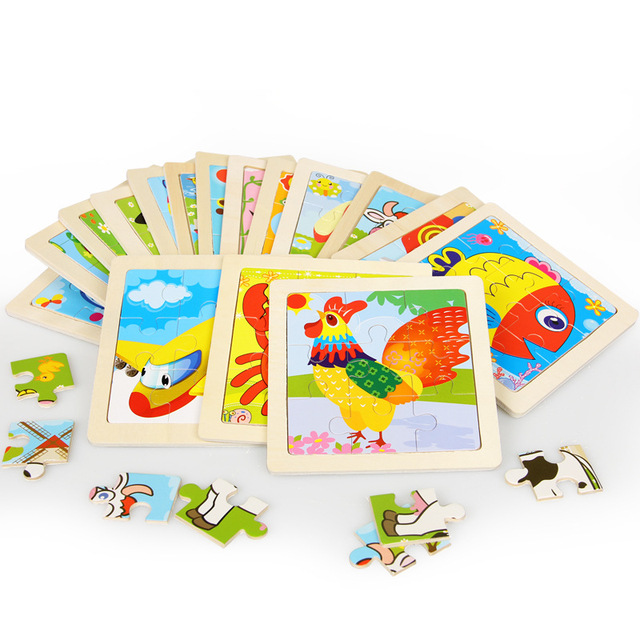 Mini Size 11*11CM Kids Toy Wood Puzzle Wooden 3D Puzzle Jigsaw for Children Baby Cartoon Animal/Traffic Puzzles Educational Toy 5
