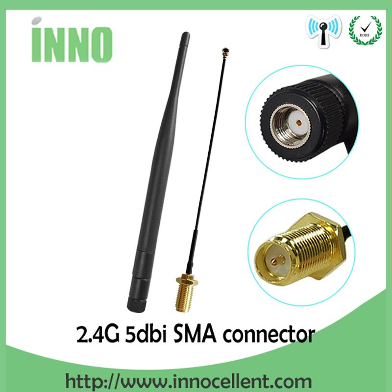 2.4GHz WiFi Antenna 5dBi Aerial RP-SMA Male Connector 2.4 Ghz Antena 2.4G Wi-fi Router + 21cm PCI U.FL IPX  Pigtail Cable