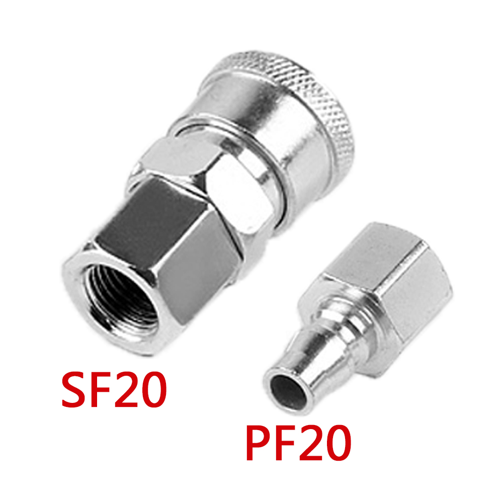 Pneumatic Tube Joint SF+PF20 Each Set 2 Set Pneumatic Quick Connector Carbon Steel for Maintenance Double Sealing