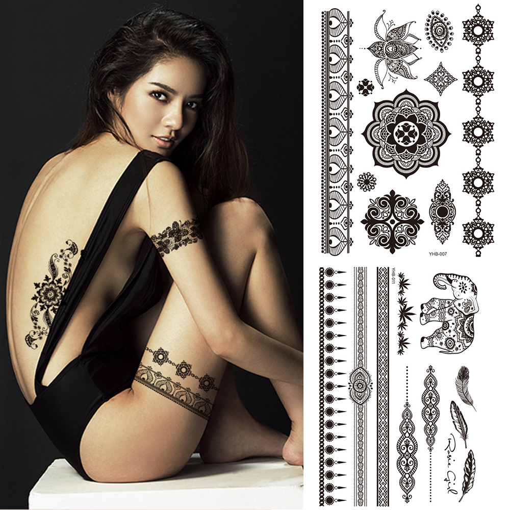 1PC Popular Women Sexy Ballet Black White Flowers Tattoos Sticker Temporary Drawing Body Art Fake Water Transfer Wholesale