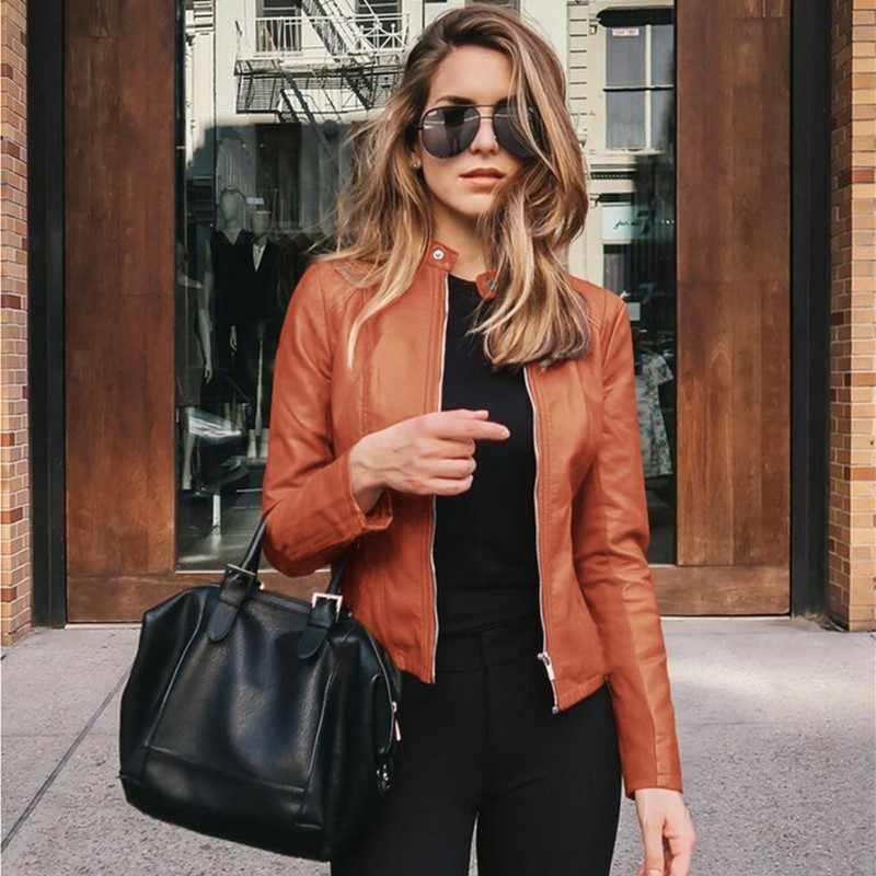 Hot Koop Vrouwen 2020 Herfst Winter Solid Modieuze Lederen Pak Jas Rits Zwart Slim Tops Vrouwelijke Jas