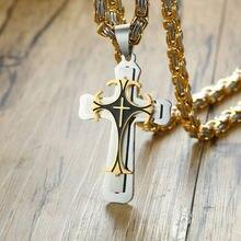 Vnox крест ожерелье для мужчин византийская Золотая цепочка