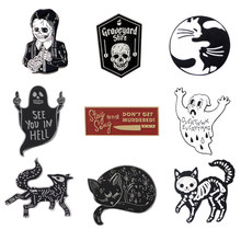 Punk enamel pin Funny ghost Skeleton สาว Dark elf cat Lapel pins ป้าย Erect กลาง(China)