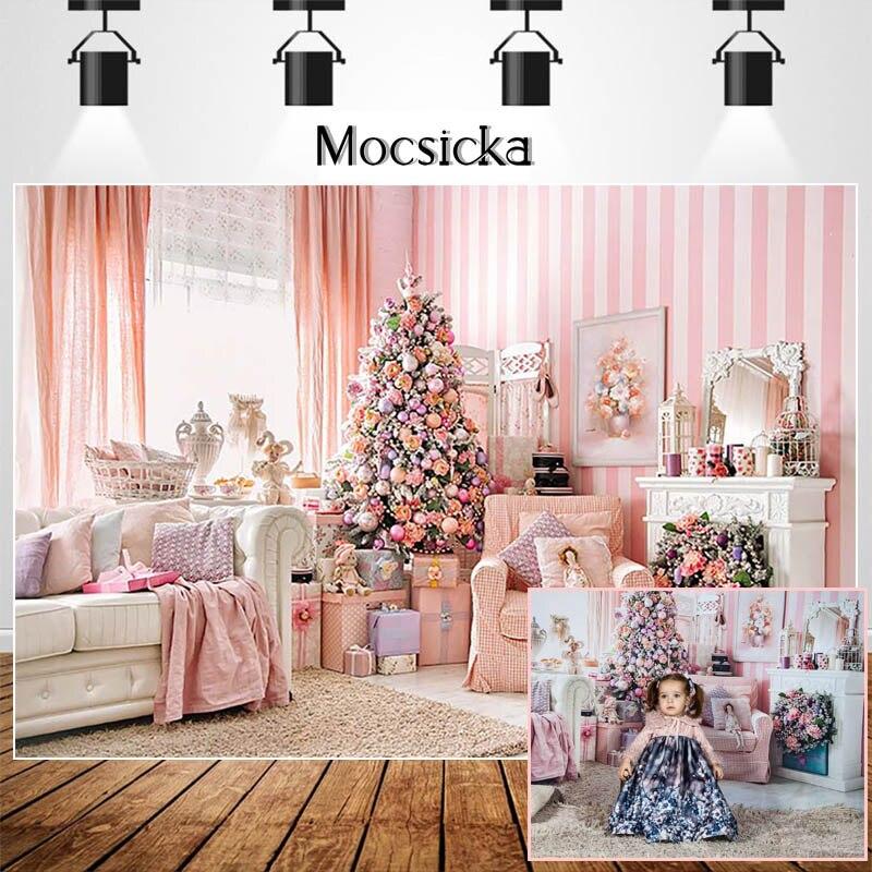 Mocsicka Розовый Рождественский комнатный фон для фотосъемки