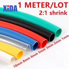 Термоусадочная трубка, 1 метр, 2:1 цветов, диаметр 1 2 3 5 6 8 10 мм, термоусадочная трубка, проводной соединитель, ремонтная труба, Муфта кабеля